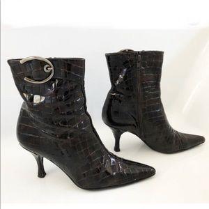 Stuart Weitzman crocodile embossed boots booties